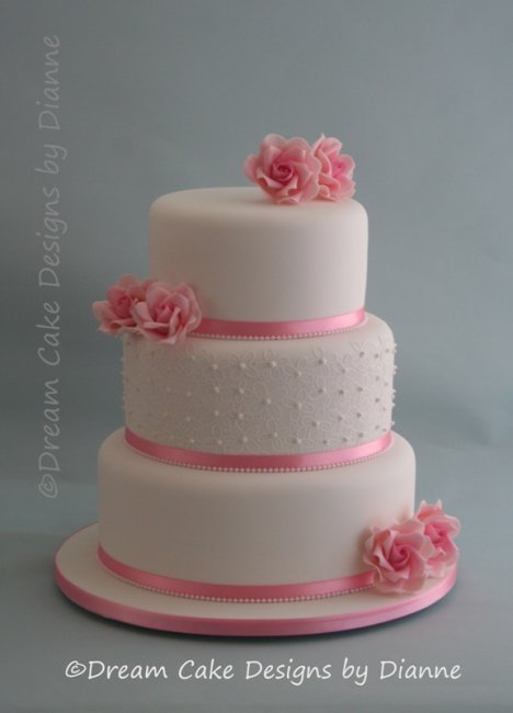 3 Tier White Wedding Cake with edible Victoriana Cake Lace with hand piped detailand pink sugar roses - Dream Cake Designs (Dianne Stanley)