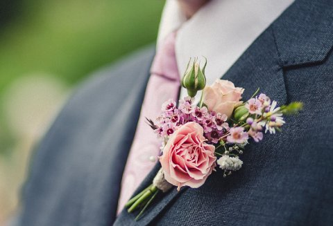 pink rose bud buttonhole - The Flower Farm