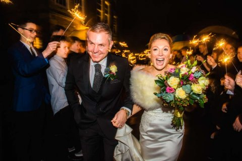 Sparklers at Winter Wedding - Fabulous Together
