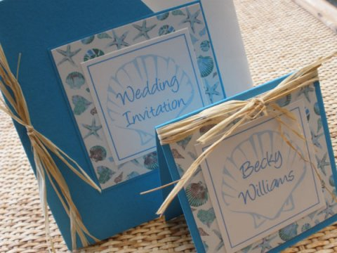 Seaside themed invitation and place card
