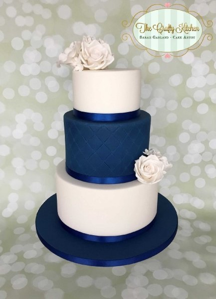 Navy & White Wedding Cake - The Crafty Kitchen