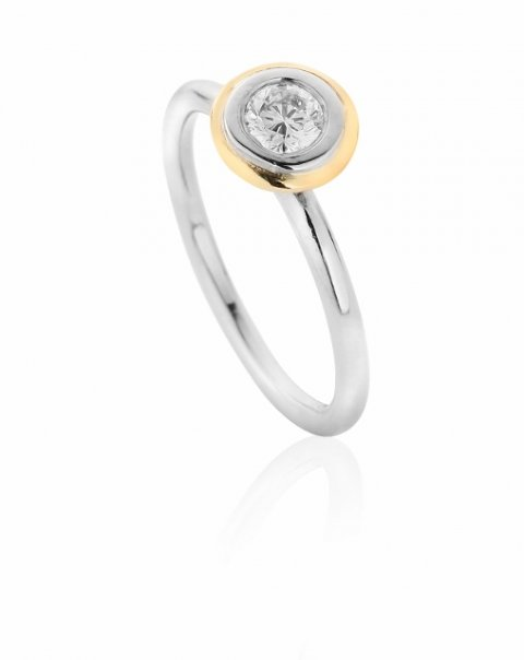 Recycled 18ct gold and diamond engagement ring