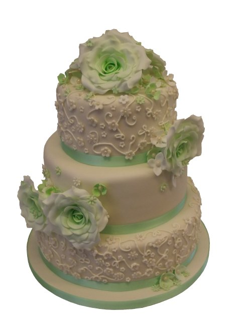 Mint green roses Wedding Cake