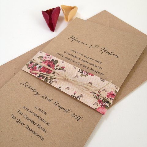 Rustic Rose Wedding Invitation - The Whole Caboodle Design Ltd
