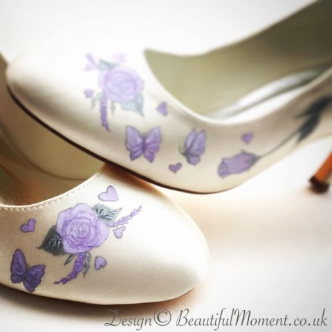 lilac roses and butterflies design - Beautiful Moment hand painted wedding shoes