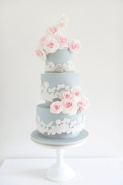 Serenity & Rose Quartz Wedding Cake - Cobi & Coco Cakes