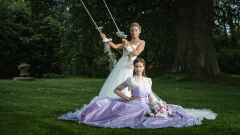 Photoshoot dresses in ivory tulle and lilac taffeta