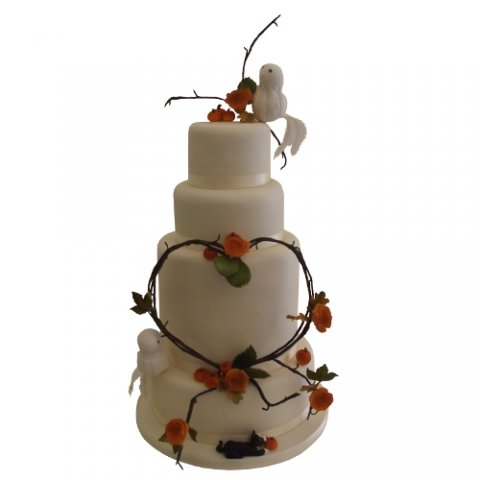 Lovebirds and Heart Wedding Cake - Cakes Individually Iced