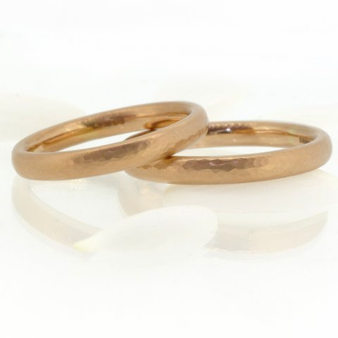 A Pair of Hammered Wdding Rings in 18ct Rose Gold - Lilia Nash Jewellery