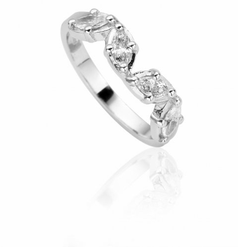 Platinum and diamond shaped to fit wedding ring
