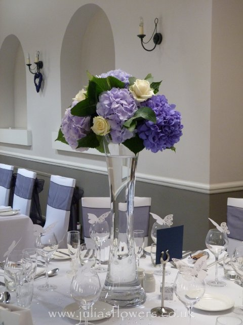 Hydrangea & Rose Tall Vase Table centre