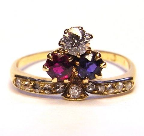 Edwardian cockade ring c1900 diamond, ruby and sapphire £1350 - N.Bloom & Son
