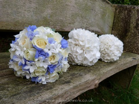 Blue and White Brides Handtied and Maids Hydrangea posies