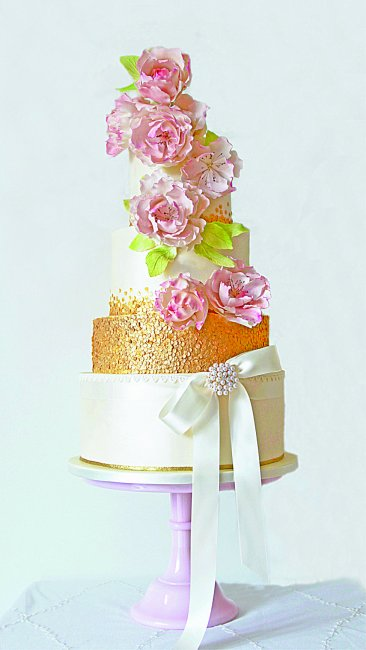 Blush Peonies on a shimmer wedding cake with gold sequins - Cobi & Coco Cakes