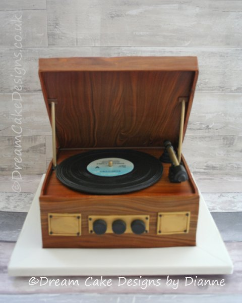 Novelty style Wedding Cake ~ Retro Record player with personalised record label .. edible walnut veneer casing - Dream Cake Designs (Dianne Stanley)