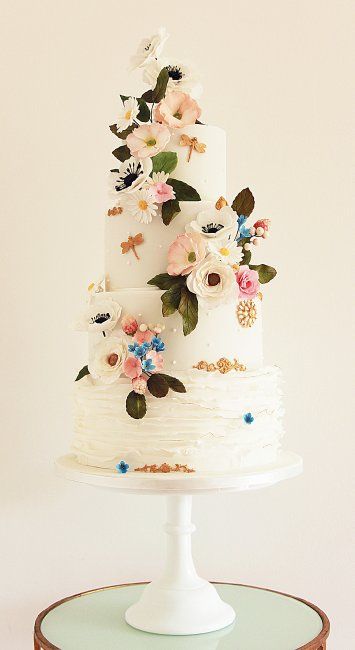 Wild floral and ruffle wedding cake - Cobi & Coco Cakes