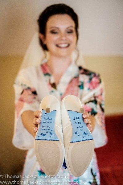 Blue painted soles with wording - Beautiful Moment hand painted wedding shoes