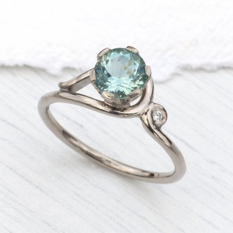 Aquamarine and Diamond Ring in 18ct Gold - Lilia Nash Jewellery