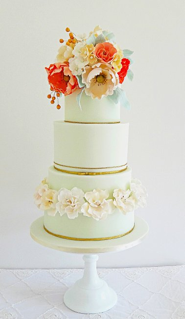 Mint & Coral with a bouquet of sugar flowers - Cobi & Coco Cakes
