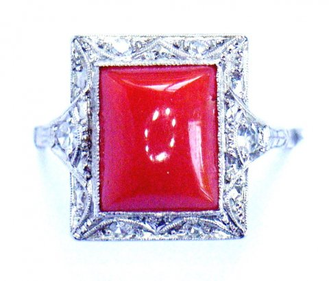 Deco coral, diamond & platinum ring £1350 - N.Bloom & Son