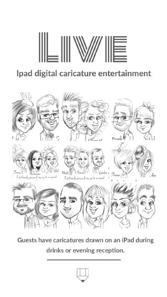 black and white caricatures of your guests - picky pencil