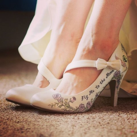 storybook vintage style wedding design shoes - Beautiful Moment hand painted wedding shoes