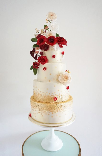 Deep Red Rose on a champagne lustred cake with gold sequins. - Cobi & Coco Cakes