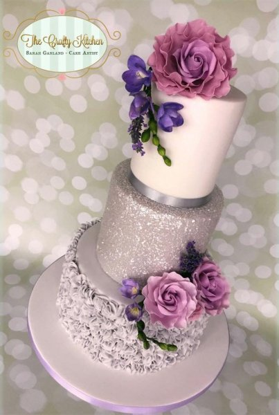 Silver Grey Sparkle Wedding Cake - The Crafty Kitchen