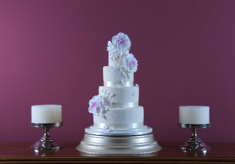Four tier rose and hydrangea Cake