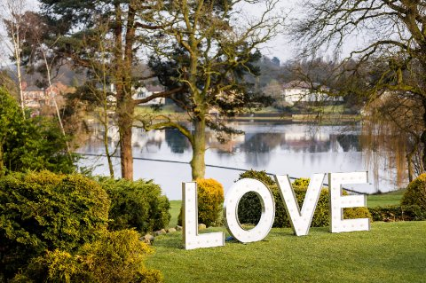 Outdoor LOVE letters at wedding - Fabulous Together
