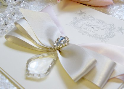 product glitter brooch lace with detail white ribbon wedding invitations beads invitation