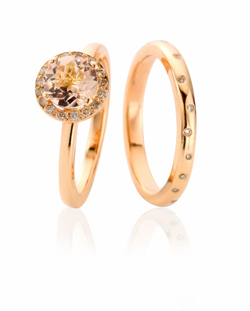 Bespoke handmade rose gold, morganite and scattered diamond wedding ring set by Claire Troughton.jpg