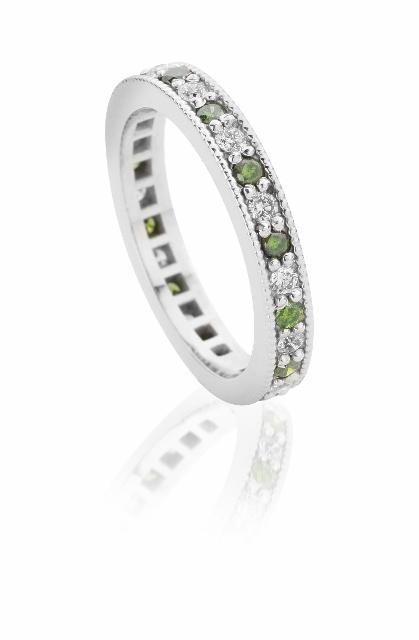 Green diamond and white diamond eternity wedding ring Claire Troughton.jpg