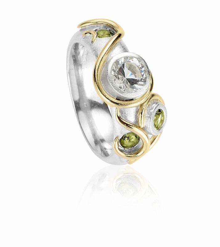 Silver ring, gold tendrils, peridot, Herkimer diamond, spiritual, Claire Troughton.jpg